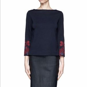 Tory Burch Maeve Milano Floral Applique Knit Top